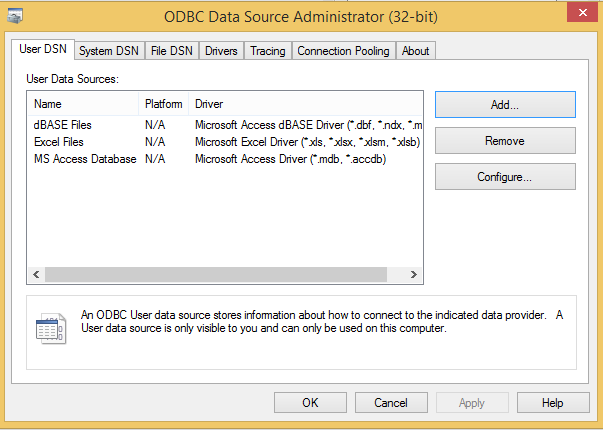 Add a DataSource in ODBC Manager