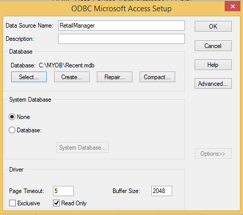 Final Settings of Data Source in ODBC Manager